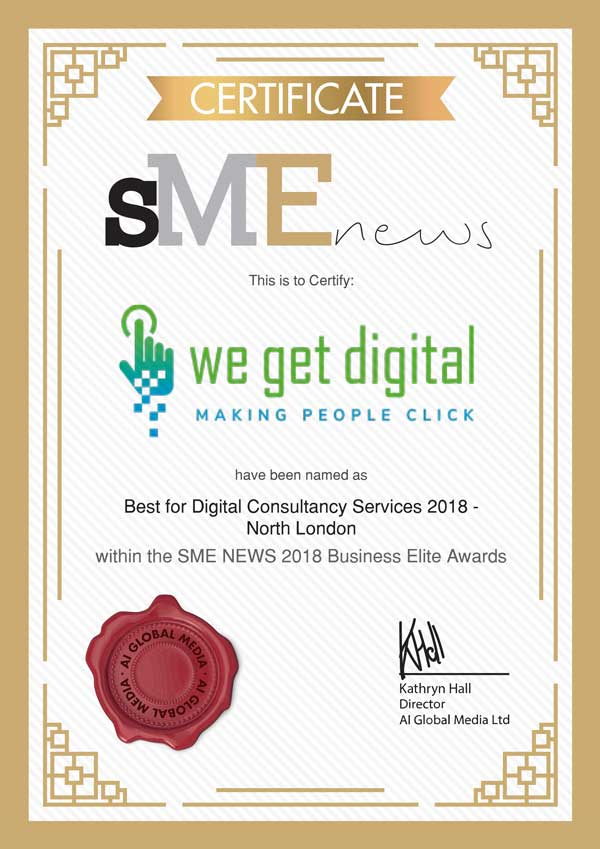 sme news we get digital award best digital consultancy services 2018 north london certificatel
